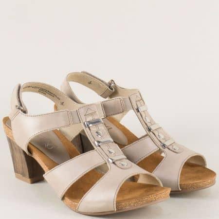 Кожени дамски сандали на среден ток в бежов цвят 928309bj