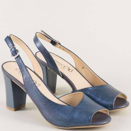 Сини дамски сандали на висок ток от естествена кожа 928314s