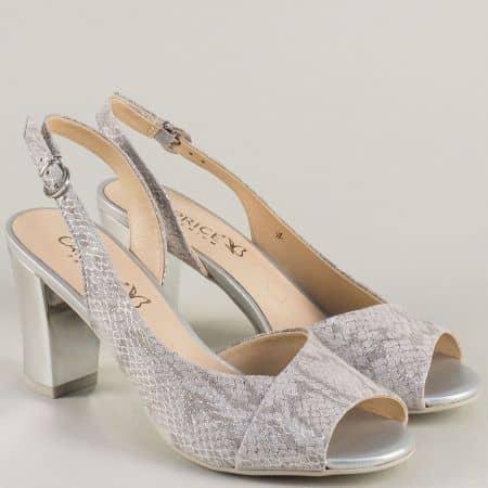 Сиви дамски сандали на висок ток с огледален ефект 928314vsv