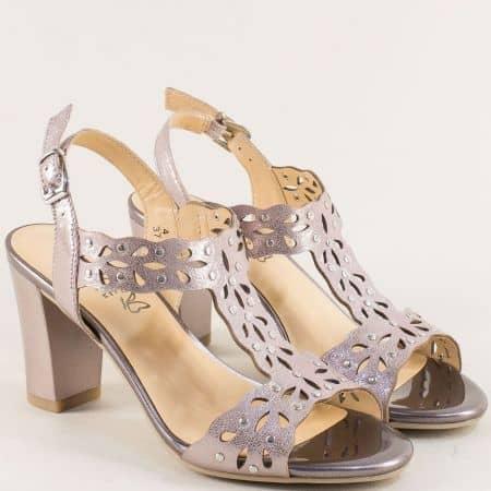 Дамски сандали на висок ток в цвят розово злато 928315rz
