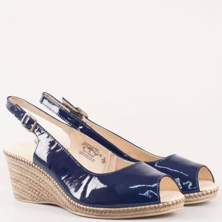 Сини дамски сандали от естествени лак с кожена стелка 928350ls