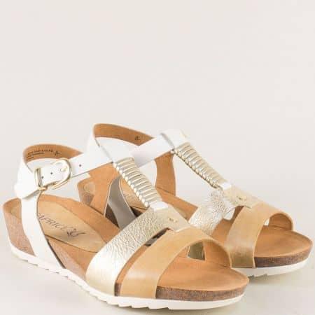 Дамски сандали в бяло, злато и светло кафяво на платформа 9928602b