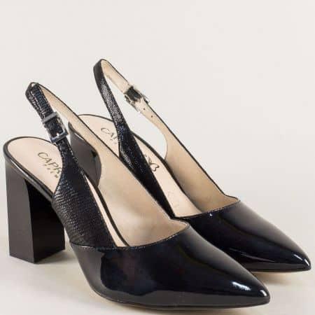 Лачени дамски обувки с отворена пета в черен цвят 929604lch