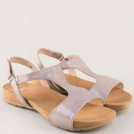 Кожени дамски сандали в розов цвят с лепка- Caprice 928606rz