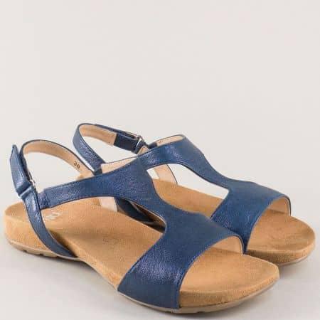 Дамски сандали от естествена кожа в синьо на равно ходило 928606s
