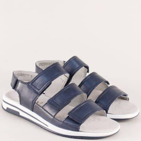 Анатомични дамски сандали от синя естесетвена кожа 928609s