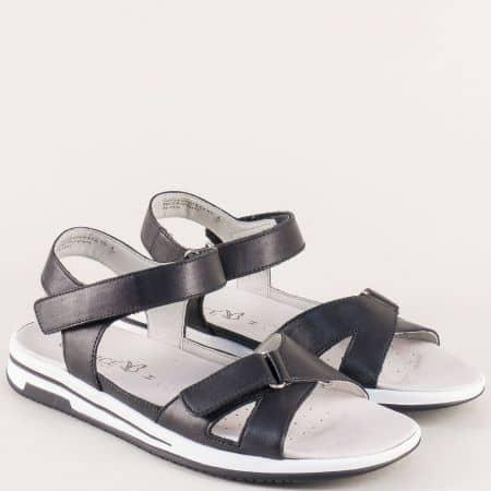 Анатомични дамски сандали в черно с кожена стелка 928610ch
