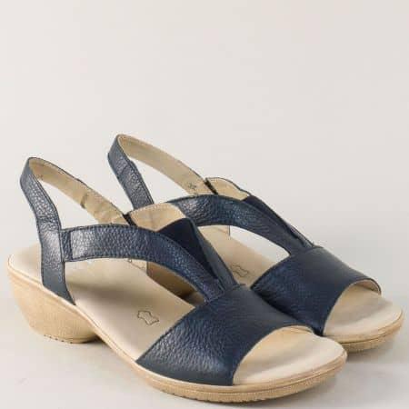 Сини дамски сандали с ластик и кожена стелка- Caprice  928707s