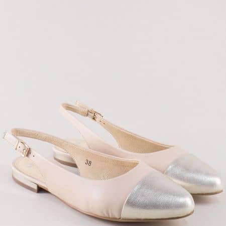 Кожени дамски обувки с отворена пета в розово и сребро 929400bj