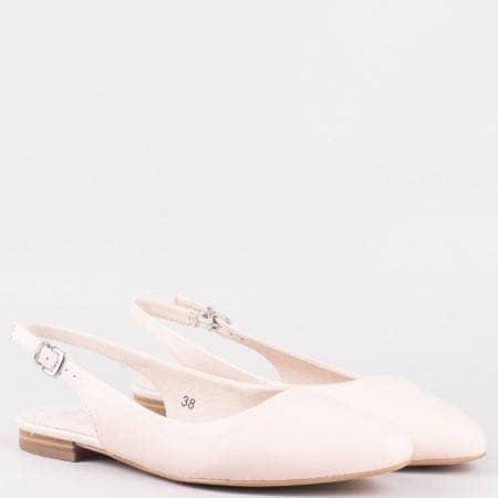 Кожени дамски обувки с отворена пета в розов цвят 929402rz