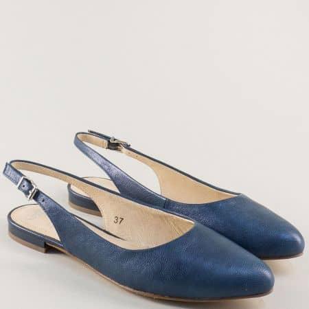 Сини дамски обувки с отворена пета и кожена стелка 929402s