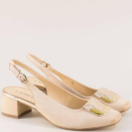 Бежови дамски обувки с отворена пета от естествен набук 929500nbj