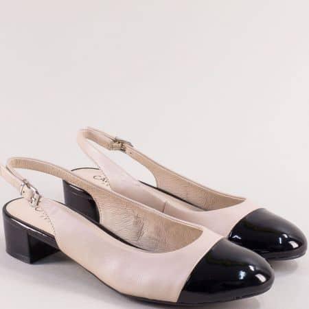 Дамски обувки с отворена пета в черно и бежово- CAPRICE 929501bj