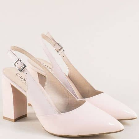 Розови дамски обувки на висок ток от естествен лак и кожа  929604rz