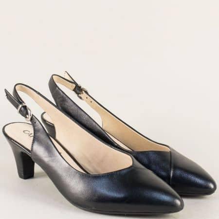 Черни дамски обувки на среден ток от естествена кожа 929699ch