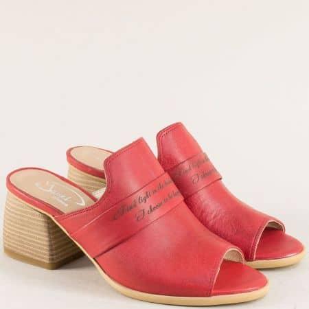 Червени дамски чехли на среден ток от естествена кожа 9298chv