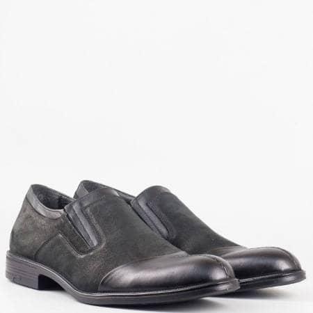 Мъжки стилни обувки от изцяло естествени материали - набук и кожа в черен цвят 934ch