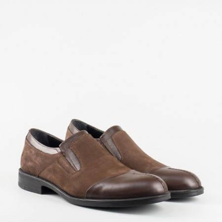 Мъжки обувки в ефектна комбинация от естествена кожа и естествен велур 934k