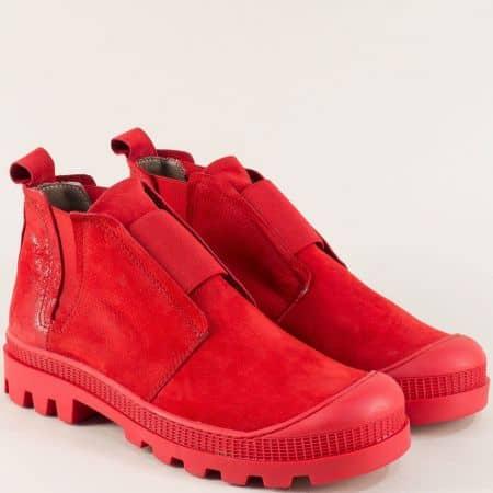 Червени дамски боти на нисък ток с кожена стелка 936nchv