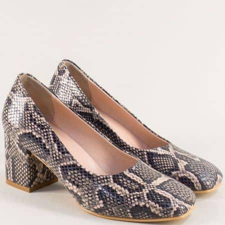 Кожени дамски обувки със змийски принт в черно и бежово 939zps