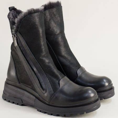 Черни дамски боти от естествена кожа на платформа 9497еch