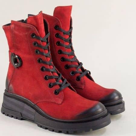 Дамски боти от естествен набук в червен цвят  9499nchv