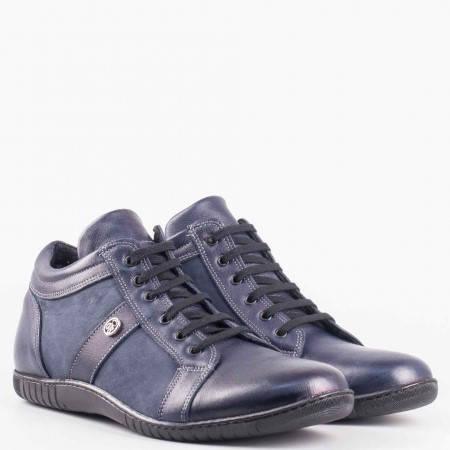 Мъжки ежедневни боти произведени от висококачествен естествен велур и кожа на шито ходило в тъмно син цвят 951s