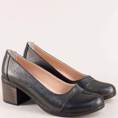 Черни сатенени дамски обувки от естествена кожа на ток 9559chsch