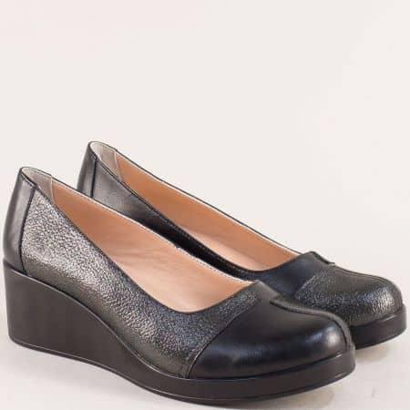 Черни дамски обувки от естествена кожа на клин ходило 9563chsch