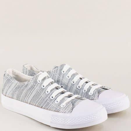 Дамски кецове в сив цвят на равно, бяло ходило 9569b