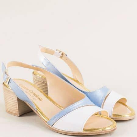 Дамски сандали в синьо и бяло с кожена стелка и катарама 956bs