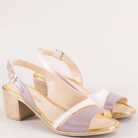 Розови дамски сандали от естествена кожа на среден ток 956krz
