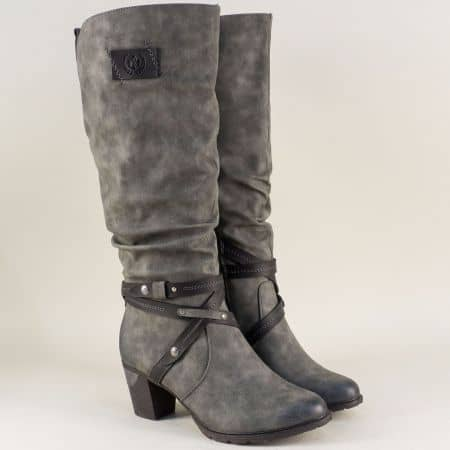 Швейцарски дамски ботуши на висок ток в сив цвят 96054sv