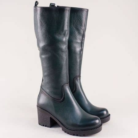 Зелени дамски ботуши на висок ток от естествена кожа 965730z