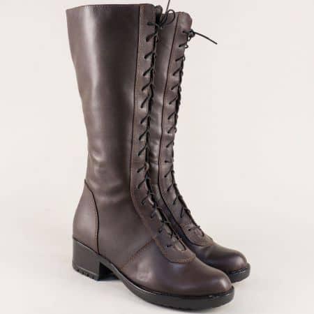 Български дамски ботуши в тъмно кафяво на комфортно ходило 966658kk