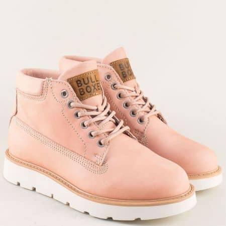 Дамски боти на платформа от розов естествен набук 968507nrz
