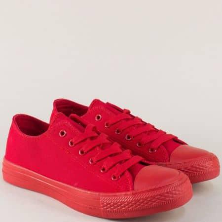 Дамски кецове с връзки на равно ходило в червен цвят 96901chv