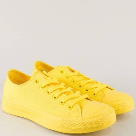 Жълти дамски кецове с връзки на равно ходило 96901j