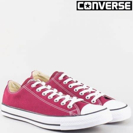 Мъжки кецове- Converse в цвят бордо с връзки 9691chv