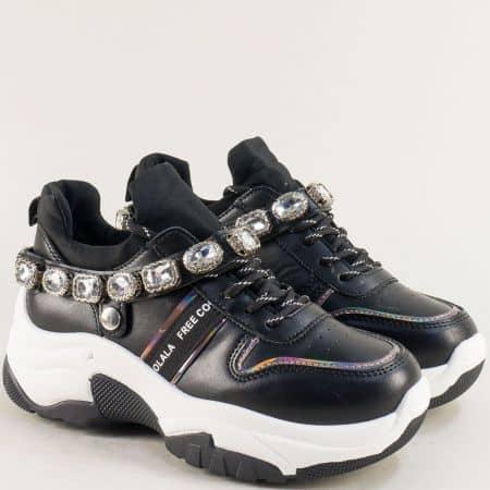 Черни дамски маратонки с камъчета на платформа 97012ch