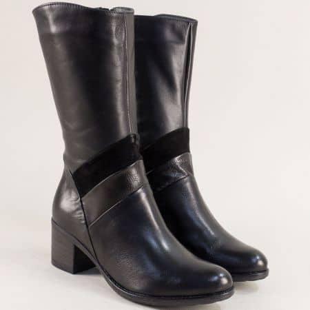 Черни дамски ботуши на среден ток от естествена кожа 970923ch