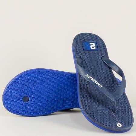 Тъмно сини мъжки джапанки на равно ходило 971-45ss