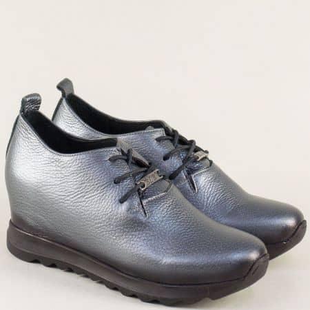 Сиви дамски обувки с връзки и стелка от естествена кожа 97100sv