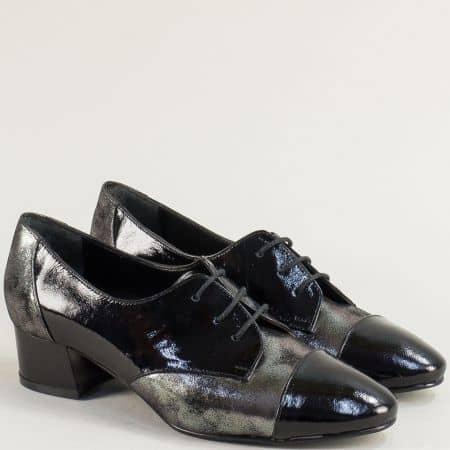 Дамски обувки на среден ток в бронз и черно с връзки 9715lchsv