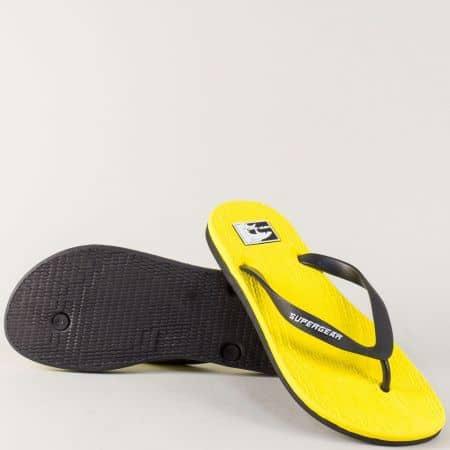 Мъжки джапанки с лента между пръста в жълто и черно 975-45j