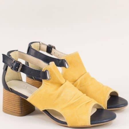 Жълти дамски сандали от естесвена кожа на среден ток 975112sj