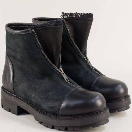 Черни дамски боти с цип от естествена кожа на нисък ток 975531ch