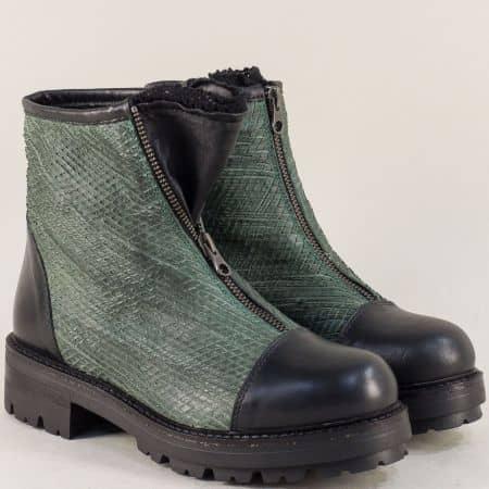 Дамски боти с цип от естествена кожа в зелено и черно 975531chz