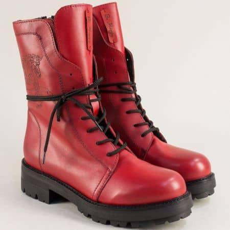 Червени дамски кубинки от естествена кожа на нисък ток 975534chv