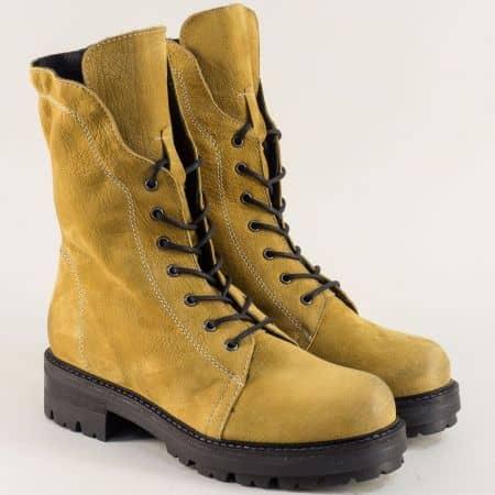 Жълти дамски боти от естествена кожа 975534j